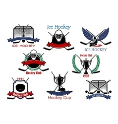 Ice hockey cup heraldic emblems vector image