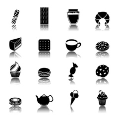 Sweets black icons set vector image vector image