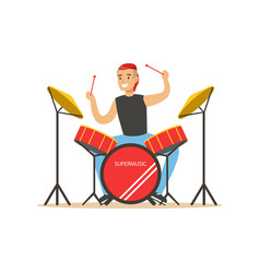 young man playing on drums guy behind the drum vector image