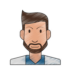 color pencil half body man bearded vector image vector image
