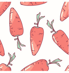hand drawn seamless pattern with carrot vector image