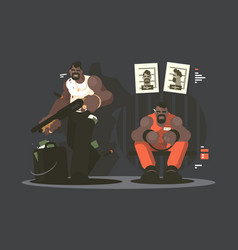 prisoner in jail vector image vector image