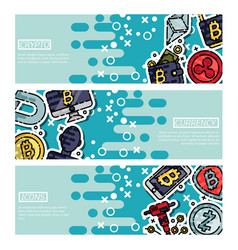 set of horizontal banners about cryptocurrency vector image vector image
