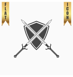 Two swords and shiel vector image