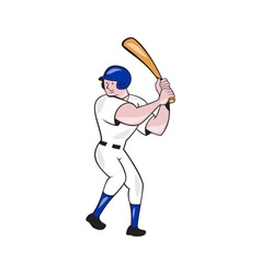 Baseball Player Batting Side Blue Isolated Cartoon vector image vector image