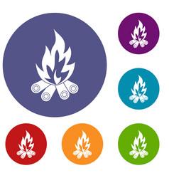 Bonfire icons set vector