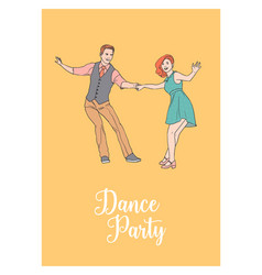 poster template with pair of young man and woman vector image
