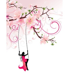 sakura swing Converted vector image vector image