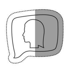 sticker monochrome of rectangular speech with vector image