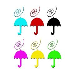 Umbrelas in color vector image