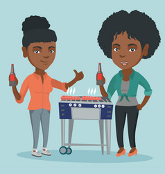 african friends having fun at barbecue party vector image vector image