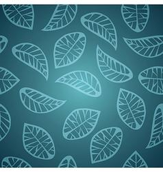 Elegant blue leaves seamless pattern vector image vector image
