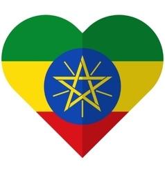 Ethiopia flat heart flag vector image