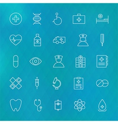 Medical and Health care Line Icons Set over vector image