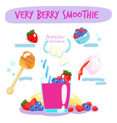 very berry smoothie with banana vector image vector image