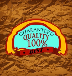 Wrinkled paper and label vector image vector image