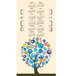 2010 globes tree calendar vector image