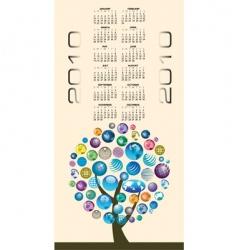 2010 globes tree calendar vector