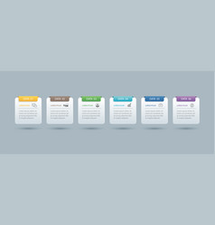 6 infographics rectangle paper index with data vector