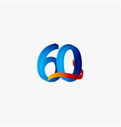 60 years anniversary celebration number blue vector