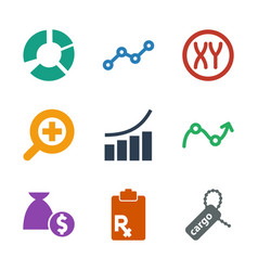 9 marketing icons vector image