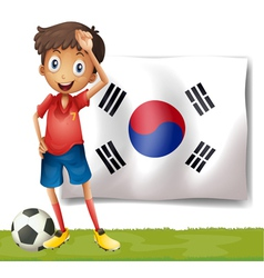 A Korean flag at the back of the soccer player vector image vector image