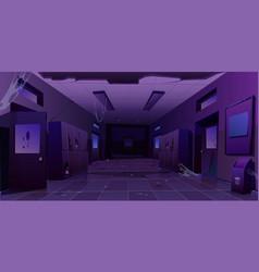 Abandoned school hallway interior night corridor vector