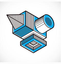 Abstract geometric form 3d creative shape vector