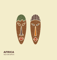 african masks icons for tribal designs vector image