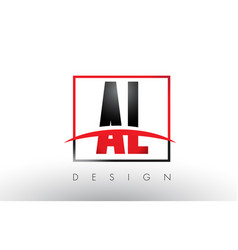 Al a l logo letters with red and black colors and vector