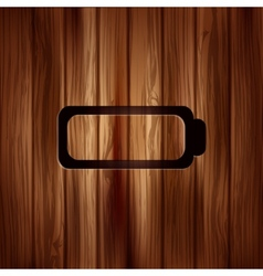 Battery icon accumulator symbol wooden texture vector