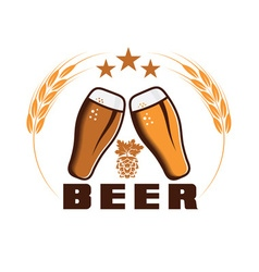 beer emblem design template vector image