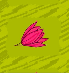 Big pink flower on green vector