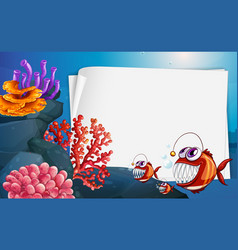 Blank paper banner with angler fish and undersea vector