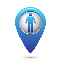 Blue map pointer with standing human icon vector