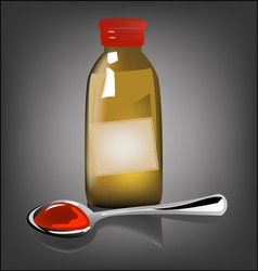 Bottle pouring medicine syrup in spoon vector