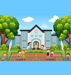 boys playing basketball on court vector image