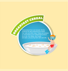 Breakfast cereal description boy in diving mask vector