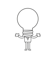 businessman character with light bulb head black vector image