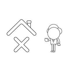 Businessman character with x mark under house vector