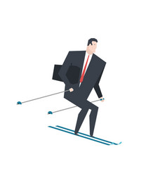 businessman on skis boss is rolling down mountain vector image
