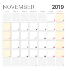Calendar planner for november 2019 week starts on vector