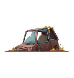 Cartoon abandoned car vector