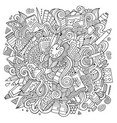 cartoon cute doodles hand drawn artistic vector image