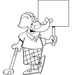 Cartoon elephant golfer leaning on a golf club whi vector