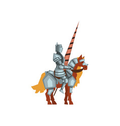 Cartoon flat icon of royal knight on vector
