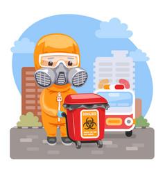 Cartoon medical biohazard worker vector