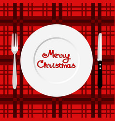 christmas dinner dinner time cutlery flat design vector image