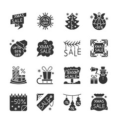 christmas season sale black silhouette icon set vector image