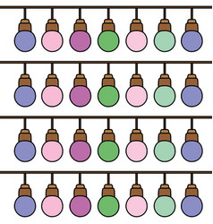 color nice bulbs hangings decoration background vector image